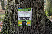 Poster on the proliferation of processionary caterpillars at the Parc Floral de Paris, France