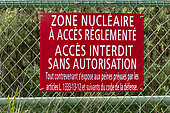Panel regulating a nuclear zone closed to the public, La Hague, France