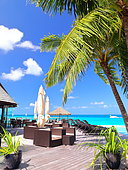 Terrace of a luxury hotel and turquoise sea, Rangiroa, French Polynesia