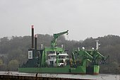 Cutting dredge on the Seine at Heurteauville, Normandy, France