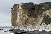 Landslide on a cliff following a storm in Pourville-sur-Mer, Normandy, France