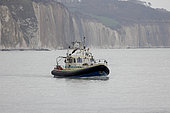 Vessel specialized in high resolution hydrographic mapping in action at Pourville-sur-Mer, Normandy, France