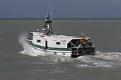 Longline gillnet fishing vessel leaving the port of Tréport, Normandy, France