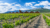 Ysios Winery, This pixilated-looking landmark was designed by architect Santiago Calatrava and opened its doors in 2001. This extremely long building can be seen from kilometers away. Gigantic bars of aluminum form the wavy roof, which mirrors the mountains in the background and fits seamlessly into the surrounding. The body of the building is made out of copper stained cedar, bearing resemblance to that of giant wine barrels, Laguardia, Alava, Basque Country, Spain, Europe