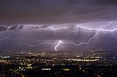 Lightning strike over Geneva, Switzerland, April 4, 2018