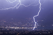Lightning strike hitting a crane, Geneva, Switzerland, april 4, 2018