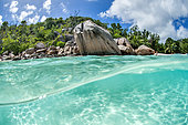 Mid-air mid-water view of a Praslin beach, Seychelles