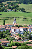 """Ainhoa: typical village in the Basque Country enjoying the label """"The Most Beautiful Villages of France"""". Old bastide located on the paths of Saint Jacques de Compostela. It is also the starting point for many PR and GR10 hiking trails, Pyrénées-Atlantiques, Aquitaine, France"""