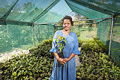Jeanette Gorodité, Nurseryman. Woman in her nursery tribe, endemic plants for reforestation. Tribe of Gohapin. New Caledonia.