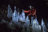 Ice stalagmites from Font d'Url Glaciere, Vercors Regional Nature Park, France