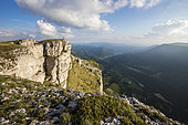 Hiking on the crest of the Font d'Urle plateau, Vercors Regional Natural Park, France