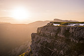Sunset on the cliffs of the Font d'Urle plateau, Vercors Regional Natural Park, France