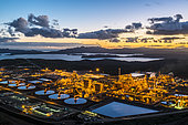 Hydrometallurgical plant for ore extraction and nickel and cobalt production. Located in the south of the Grande Terre in the commune of Yaté. New Caledonia.