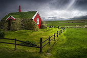 House with broken fence, Borgarfjordur, Iceland