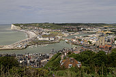 View from the top of the cliffs on the port of Tréport, Seine-Maritime, Normandy, France
