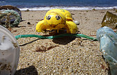 Plastic turtle thrown by the sea in a beach. - Composite image. Composite image