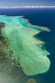 Aerial view on lagoon and reef of the west coast. Cape Gulvain Reef. West Coastal Area World Heritage Site by Unesco. New Caledonia.