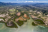 Mouth and mangrove of the west coast, Cape River, Town of Bourail. West Coastal Area World Heritage Site by Unesco. New Caledonia.