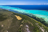 Aerial view of the dry forest of the littoral and lagoon of Poé. Western coast. World Heritage area of Unesco. New Caledonia.