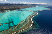 Aerial view on lagoon and reef of the west coast. Lagoon of Poé. West Coastal Area World Heritage Site by Unesco. New Caledonia.