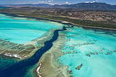 Rift in the reef and lagoon of the west coast, Lagoon of Poé. West Coastal Area World Heritage Site by Unesco. New Caledonia.