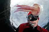 Jellyfish (Pelagia noctiluca) and diver, Tenerife, Marine invertebrates of the Canary Islands.