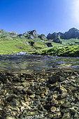 Mountain river seen mid-air half-water, climb Col du Tourmalet, Hautes-Pyrénées, France