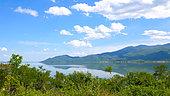 Mount Kroussia diving into Lake Kerkini, Central Macedonia, Greece