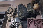 Asiatic black bear skin bags (Ursus thibetanus), Dali market, Yunnan, China
