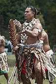 Futuna dancer in traditional dance clothes, Cultural festival. Town of Common Poya. New Caledonia.
