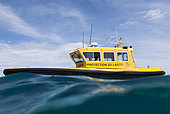 Lagoon protection boat. New Caledonia.