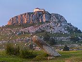 Menhir Ilso de Lodos and Ermita Nuestra Señora de las Nieves, Guriezo, MOC Montaña Oriental Costera, Natura 2000, Cantabria, Spain, Europe