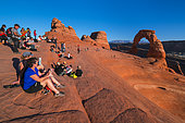 Tourists and Delicate Arch, Arches National Park, Colorado Plateau, Utah, Grand County, Usa