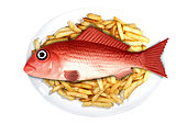 """Plastic fish food. Concept image of a fish served on a plate with other real food elements. Plastic fish and ships. We are eating plastic on our seafood. Contaminated fish and shellfish have been found everywhere from Europe, Canada and Brazil to China – and plastic-eating fish are now showing up in supermarkets. While most plastic has been found in the guts of fish, and would therefore be removed before eating, some studies have warned that microplastics, particularly at the nanoscale, could transfer from the guts to the meat (and, of course, we eat some species of small fish and shellfish whole). There is growing concern about toxins leaching – laboratory tests have shown that chemicals associated with microplastics can concentrate in the tissues of marine animals. Some commercially important species have seen the majority of their population affected. It confirmed that contamination has been recorded in tens of thousands of organisms and more than 100 species. Last year, the European Food Safety Authority called for urgent research, citing increasing concern for human health and food safety """"given the potential for microplastic pollution in edible tissues of commercial fish"""". Portugal"""