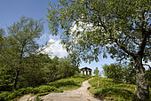 The temple erected in 1869, imitation Greek-Roman temple, overlooking the valley of the Plain, the Donon (1019 m), summit, Hautes Vosges, Grandfontaine, Bas Rhin, France