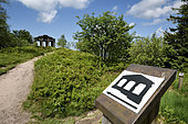 The temple erected in 1869, imitation Greek-Roman temple, overlooking the valley of the Plain, marking the hiking circuit, the Donon (1019 m), summit, Hautes Vosges, Grandfontaine, Bas Rhin, France