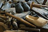 Clogs, workbench, tools, clog maker workshop, museum Espace des métiers du Bois Et du Patrimoine in Labaroche, Haut Rhin, France