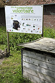 Voluntary composting site, panel, square, upper town, Saint Valery sur Somme, Somme, France