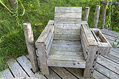 Armchair made with wooden pallets, summer, Moselle, France