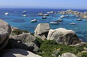 Ships at anchor, Lavezzi Islands Nature Reserve, southern Corsica, Corsica, France, Europe