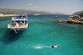 Boats in Kekova bay off Uecagiz, Lycian coast, Antalya Province, Mediterranean, Turkey, Eurasia, Asia