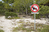Dog prohibition sign, Ténia Islet Marine Reserve, West Lagoon. New Caledonia.