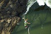 Bungee Jumping from the Victoria Falls, Zambia, Zimbabwe, Bridge, Africa