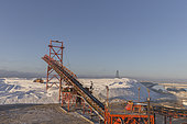 The biggest saltworks plant in the world, shallow salty watery habitat, Salt harvest 6 to 8 months after impoundment, production of 9 millions tons per year, Ojo de Liebre Lagoon (formerly known as Scammon's Lagoon), Guerrero Negro, Baja California Sur, Mexico,
