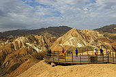 Eroded hills of sedimentary conglomerate and sandstone, Unesco World Heritage, Zhangye, China