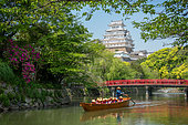 Gondola ride along Himeji Castle, Japan