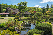 Mont Fuji's view along Manoe's hotel garden, Japan