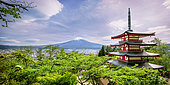 Mont Fuji's view on Chureito pagoda, Japan