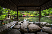 Happoen japanese's garden, tea house and azalea in fulll blum Tokyo, Japan