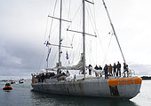 Arrival in Lorient (city of sailing) of the schooner Tara, after 2 years of expedition to the Pacific to study corals (October 27, 2018), France